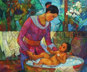 035 San Miguel, Roger Mother and Child IV oil on canvas